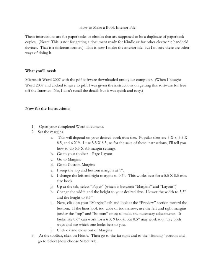 How to Make a Book Interior File  These instructions are for paperbacks or ebooks that are supposed to be a duplicate of p...