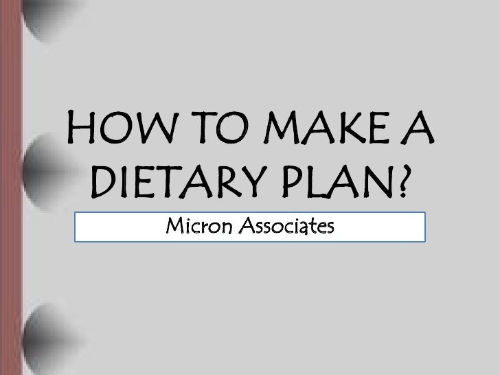 How to make a dietary plan