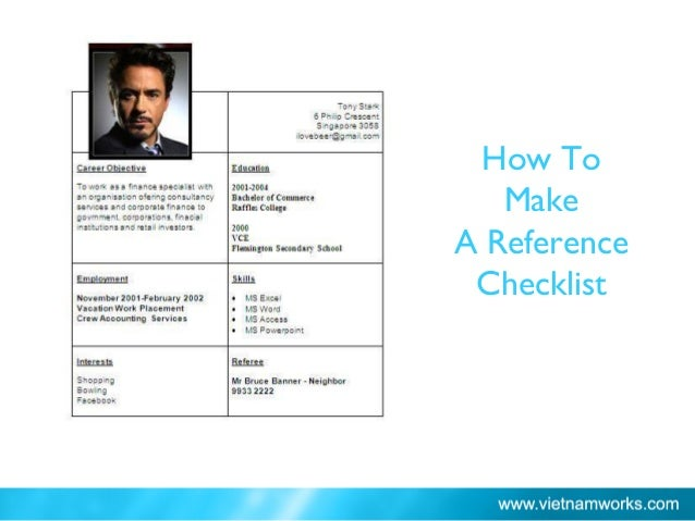 How To Make A Reference Checklist