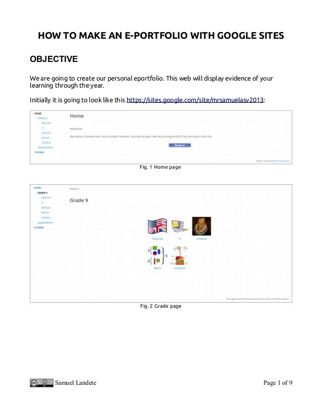 How to make an eportfolio using Google Sites for Grade 9 learners