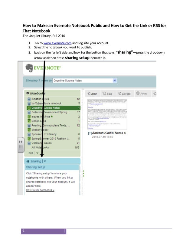 1 How to Make an Evernote Notebook Public and How to Get the Link or RSS for That Notebook The Unquiet Library, Fall 2010 ...