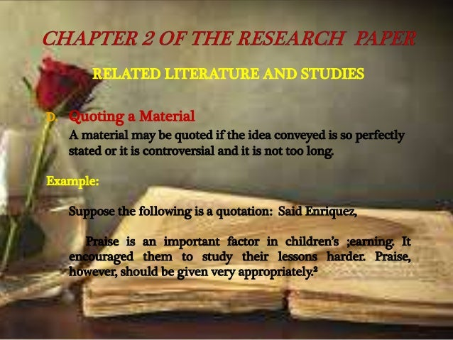 Methods and procedures in research paper
