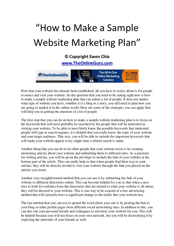How To Make A Sample Website Marketing Plan
