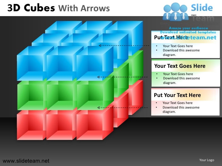 3D Cubes With Arrows                        Put Text Here                        •   Your Text Goes here                  ...