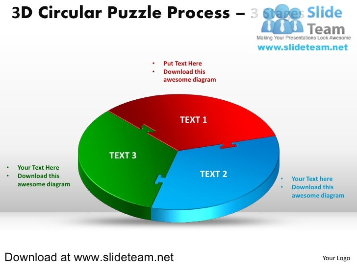 3D Circular Puzzle Process – 3 Stages                               •   Put Text Here                               •   Do...