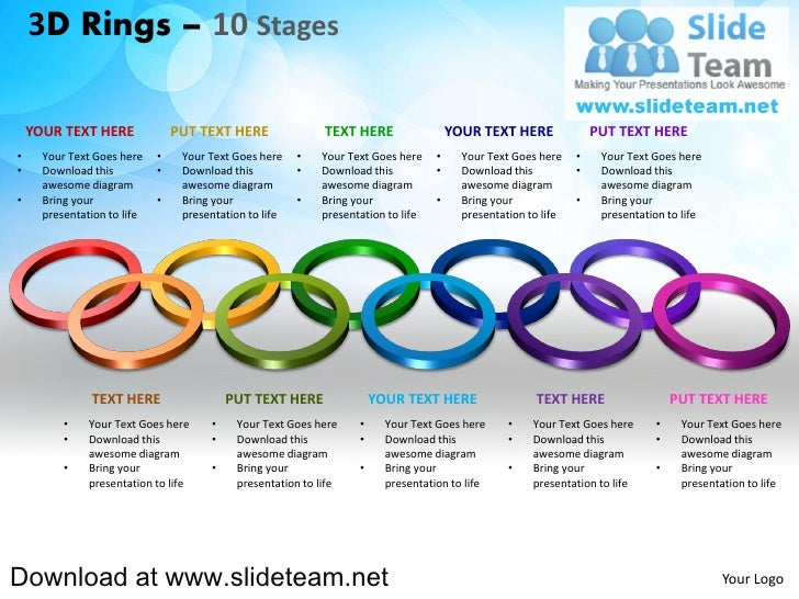 How to make create 3 d pieces of rings circles connected interconnected  linked 10 stages powerpoint presentation slides and ppt templates graphics clipart