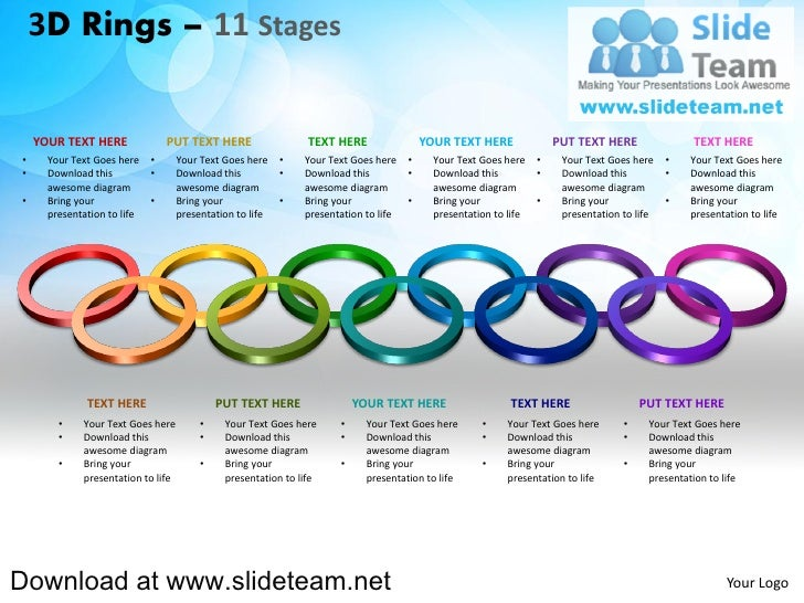 How to make create 3 d pieces of rings circles connected interconnected  linked 11 stages powerpoint presentation slides and ppt templates graphics clipart