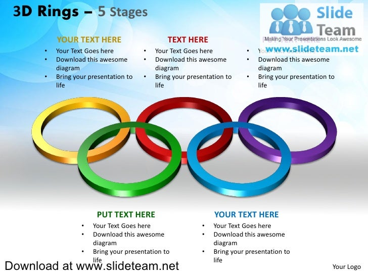 How to make create 3 d pieces of rings circles connected interconnected  linked 5 stages powerpoint presentation slides and ppt templates graphics clipart