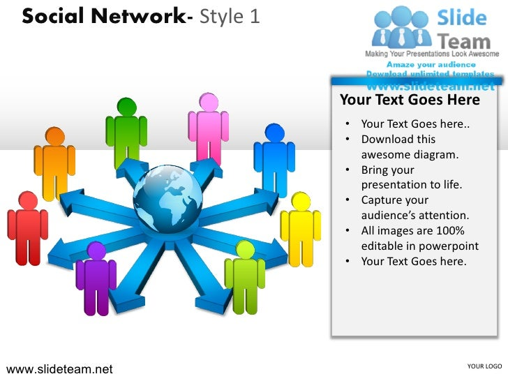 How to make create social network style design 1 powerpoint presentation slides and ppt templates graphics clipart