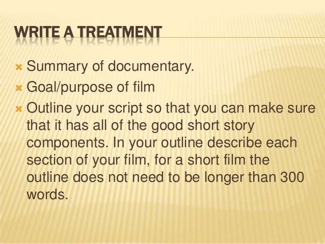 how to write a script treatment