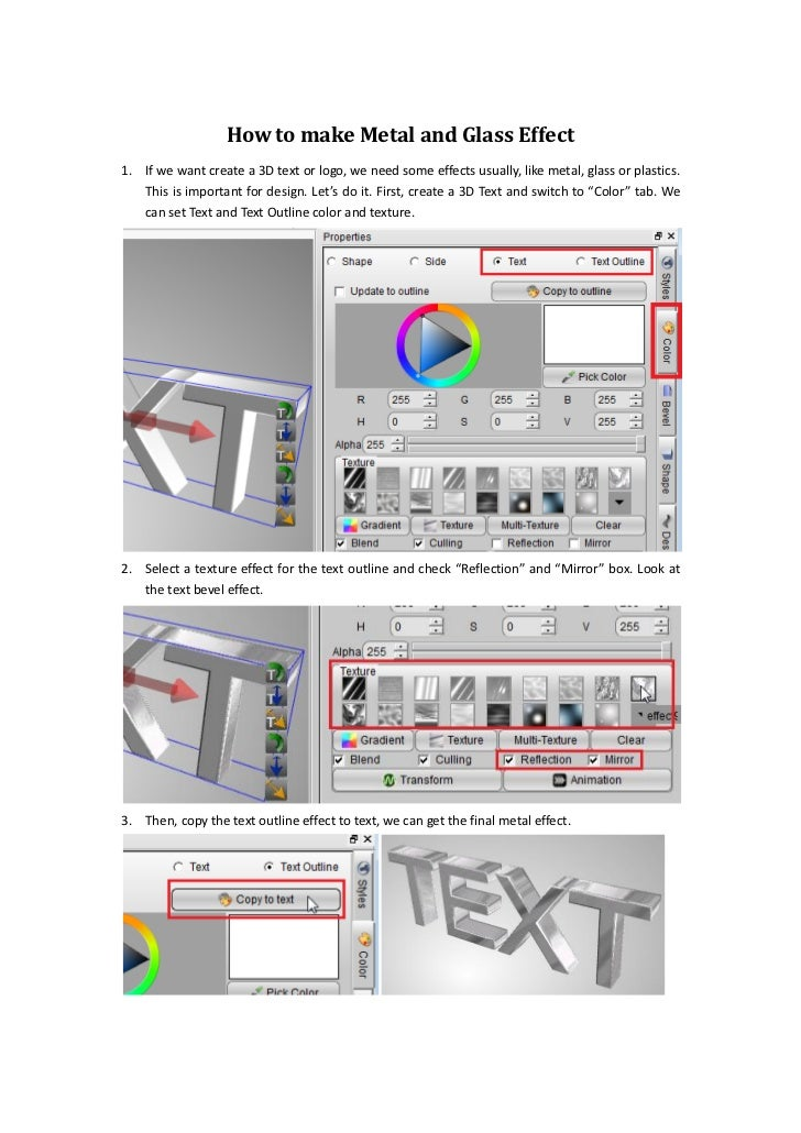 How to make metal and glass effect
