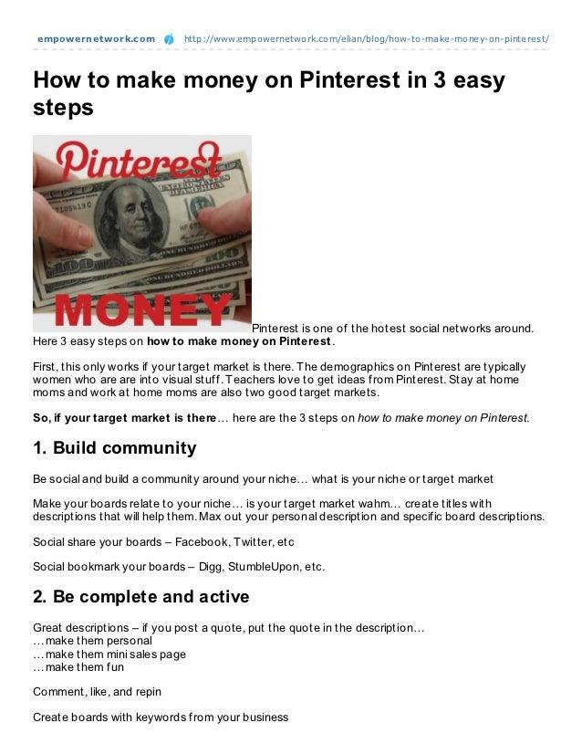 How to make money on pinterest in 3 easy steps
