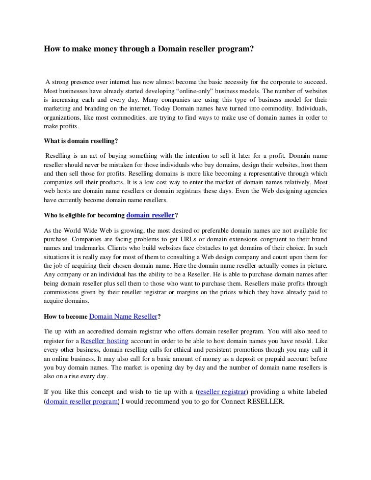 Reseller Program Template a Domain Reseller Program