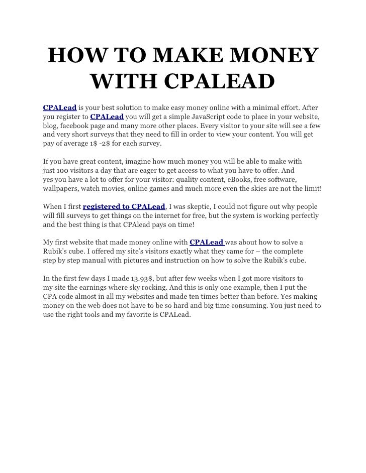 Howtomakemoneywithcpalead