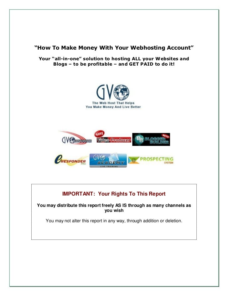 """""""How To Make Money With Your Webhosting Account"""" Your """"all-in-one"""" solution to hosting ALL your Websites and      Blogs – ..."""