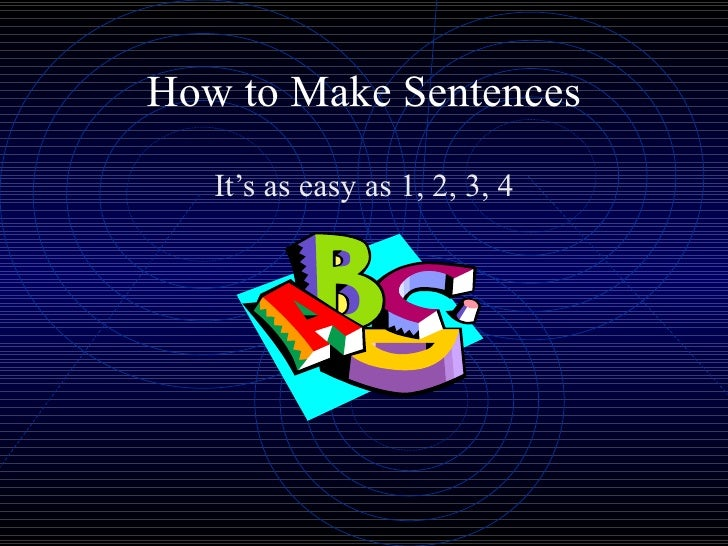 How to Make Sentences It's as easy as 1, 2, 3, 4