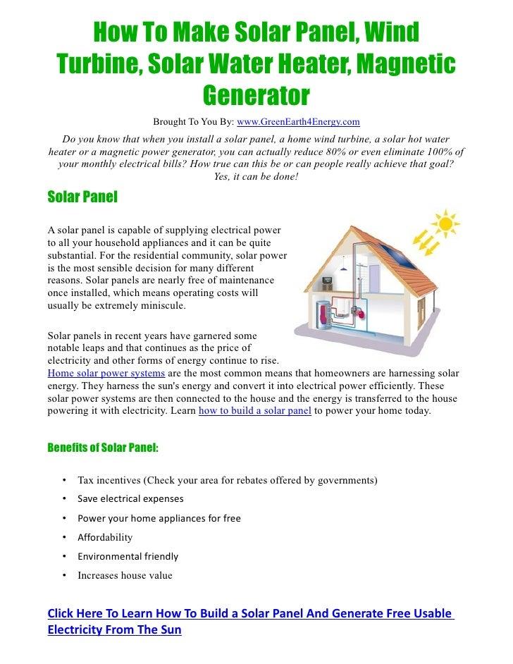 Learn How To Build Solar Panel, Wind Turbine, Solar Water Heater