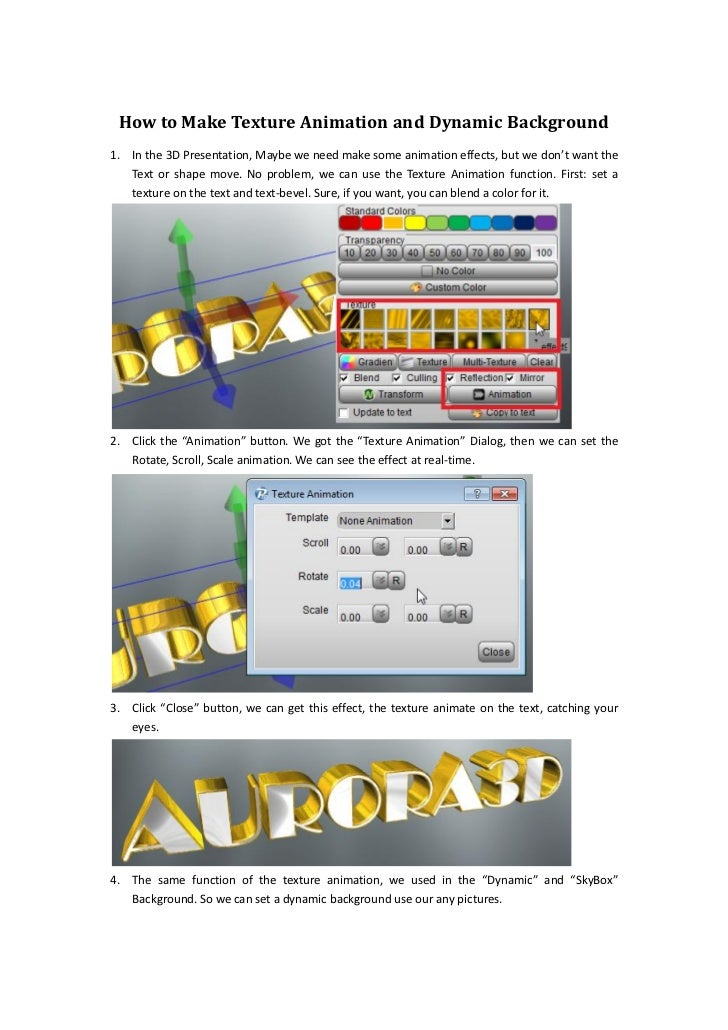 How to Make Texture Animation and Dynamic Background1. In the 3D Presentation, Maybe we need make some animation effects, ...
