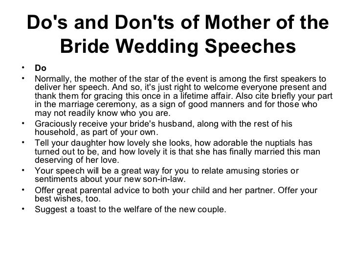 Ideas About Mother Of Bride Speech Samples