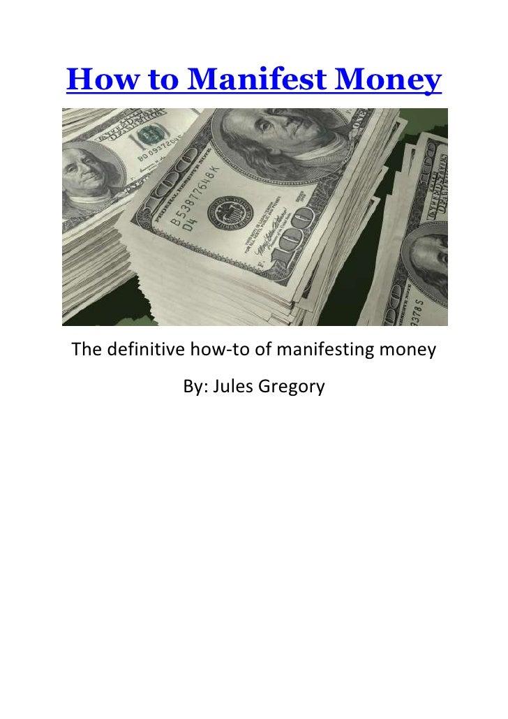 How to manifest money