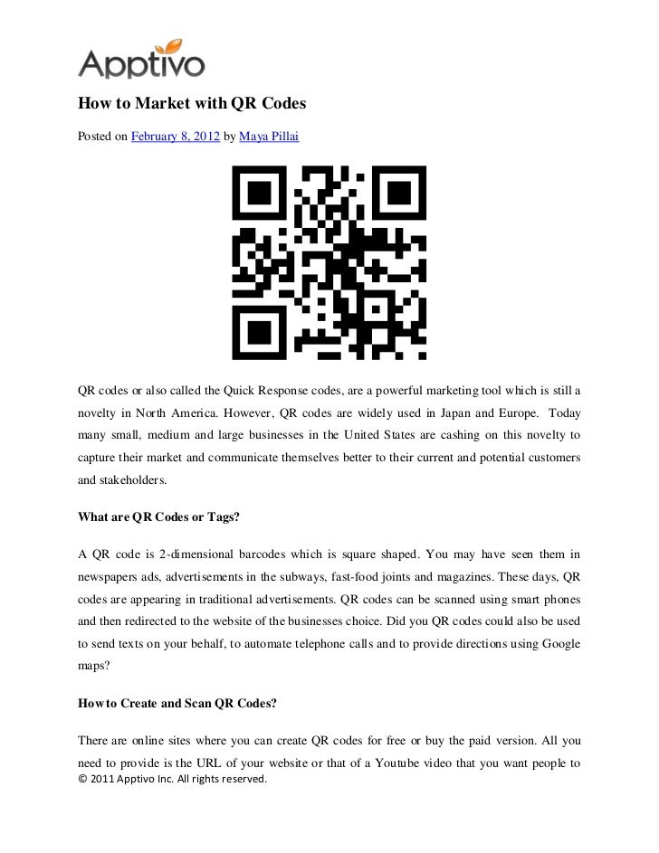 How to Market with QR CodesPosted on February 8, 2012 by Maya PillaiQR codes or also called the Quick Response codes, are ...