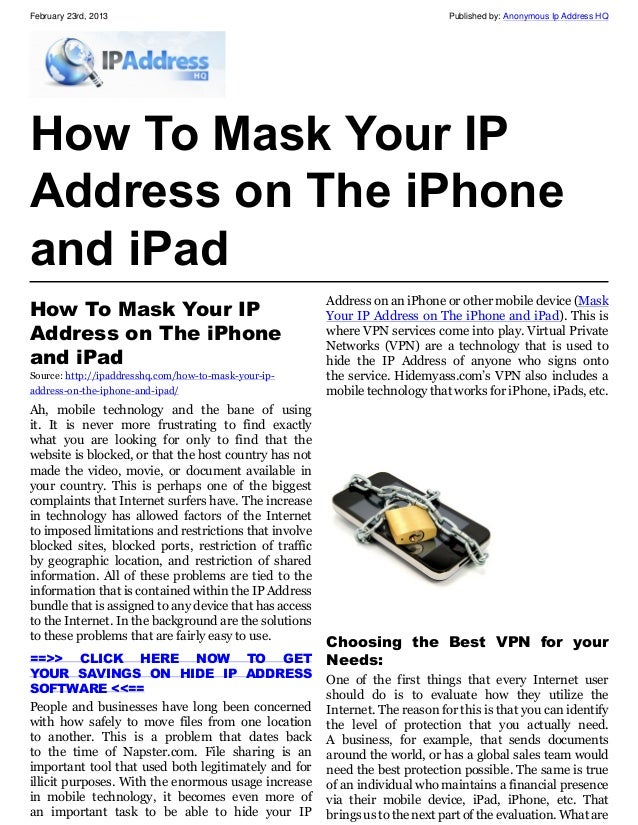how to find ip address for ipad
