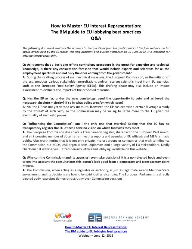 How to master eu interest representation the bm guide to eu lobbying best practices q&a