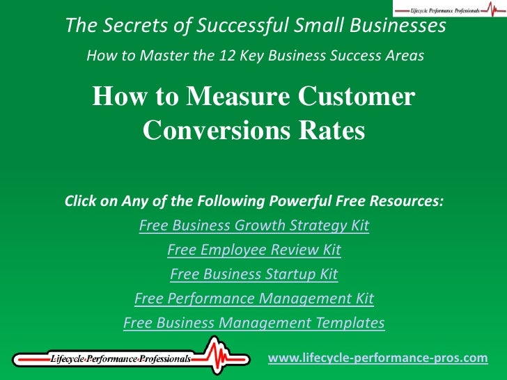 The Secrets of Successful Small Businesses<br />How to Master the 12 Key Business Success Areas<br />How to Measure Custom...