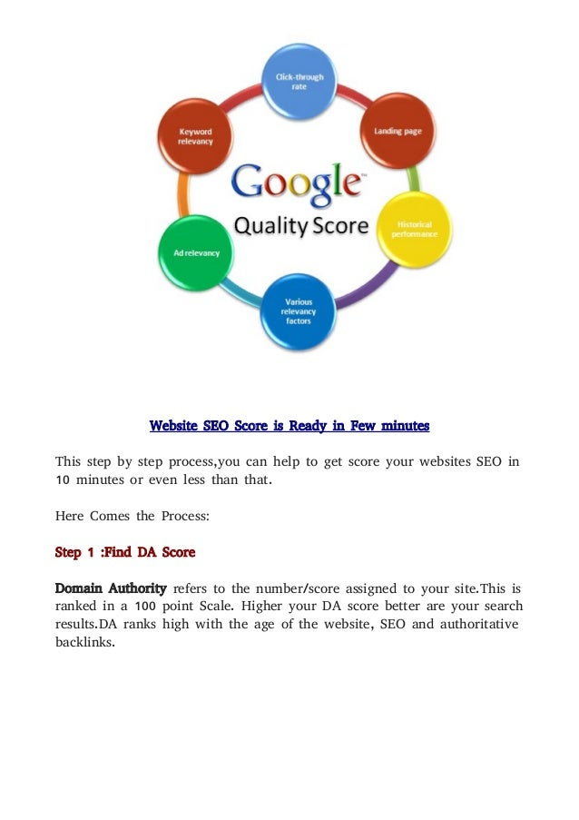 Website SEO Score is Ready in Few minutes This step by step process,you can help to get score your websites SEO in 10 minu...