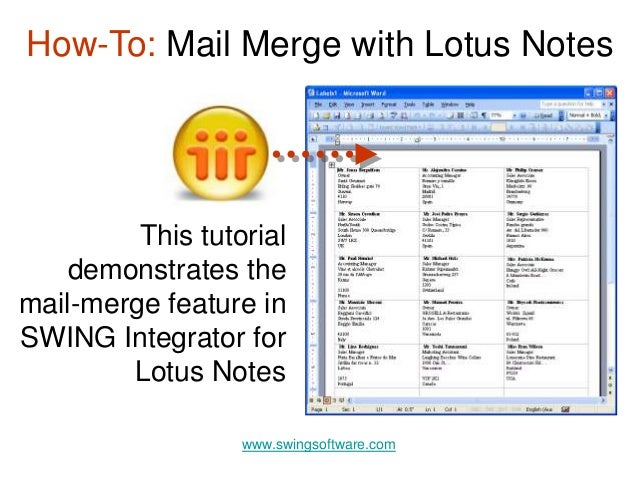 Mail Merge with Lotus Notes
