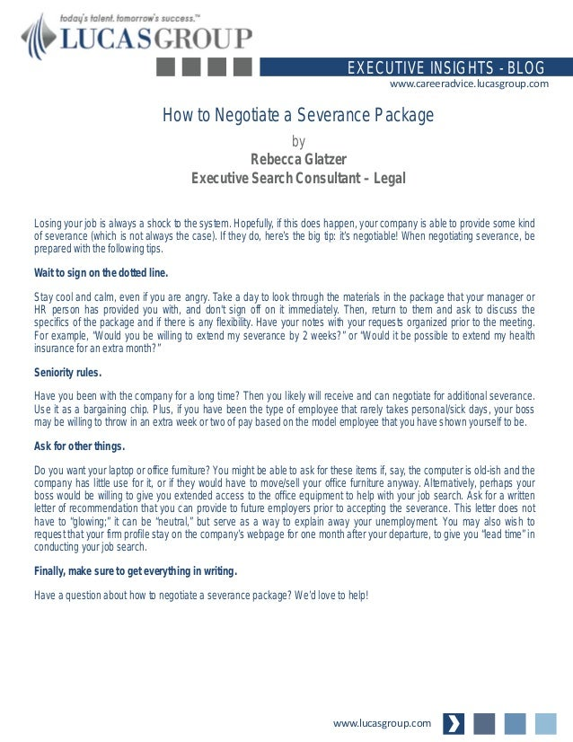 How to negotiate a severance package for Severance letter template