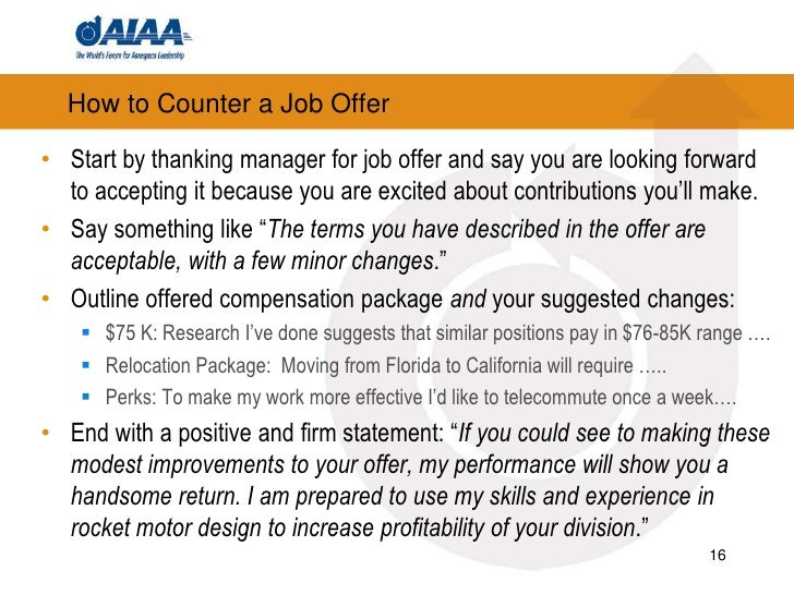 how to counter offer a job offer