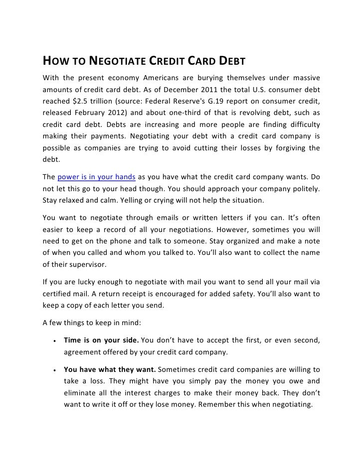How to Negotiate Credit Card Debt