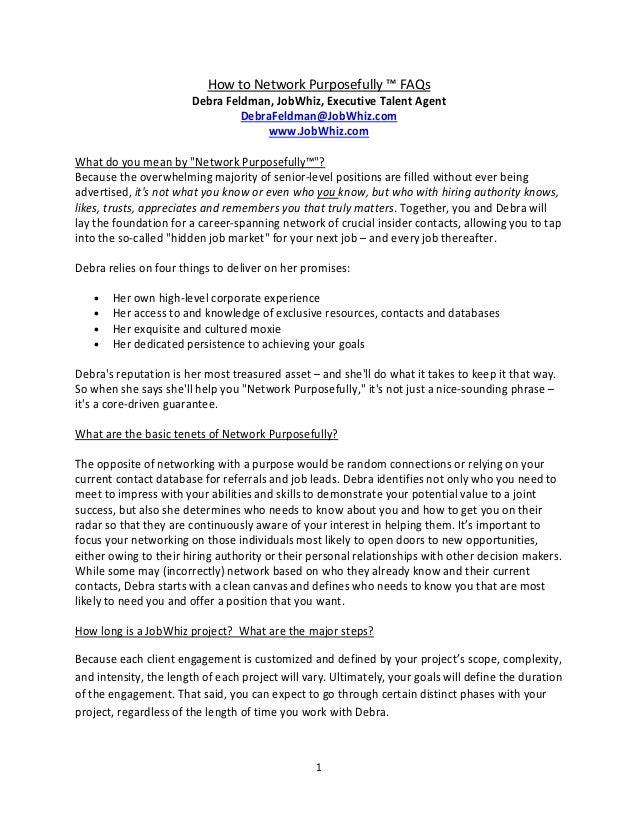 How to network purposefully FAQs 2012