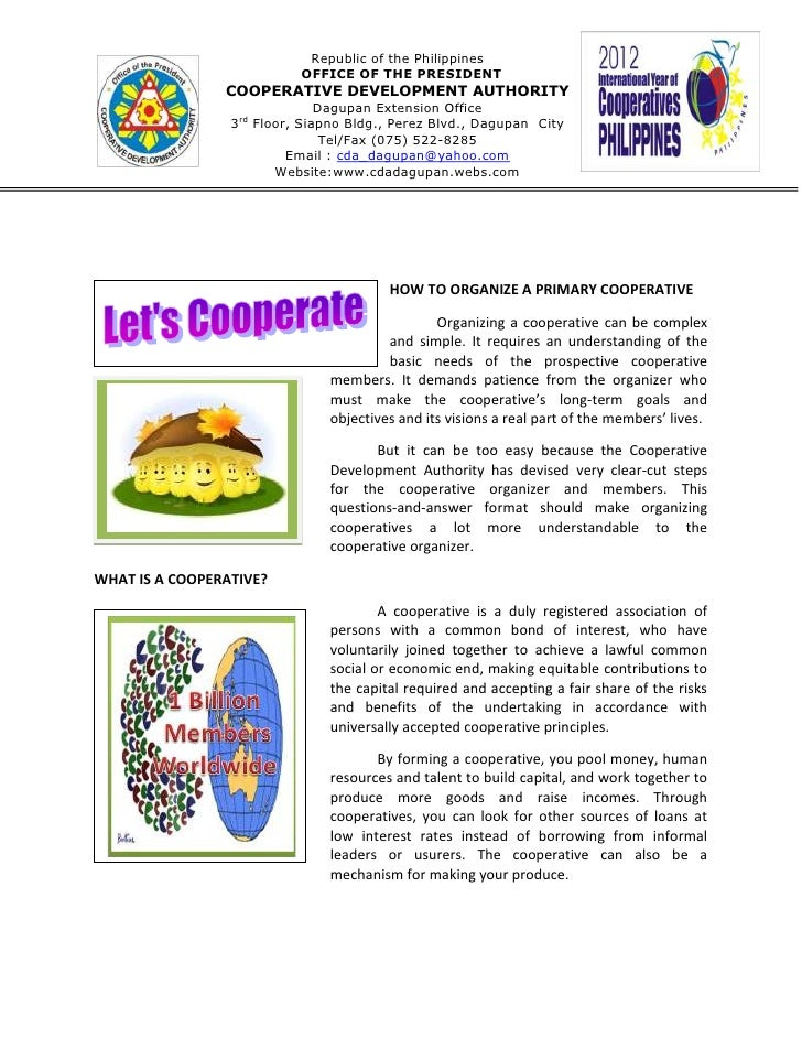 Republic of the Philippines                           OFFICE OF THE PRESIDENT                COOPERATIVE DEVELOPMENT AUTHO...