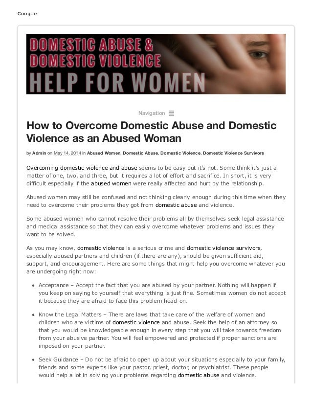 Google Navigation ² How to Overcome Domestic Abuse and Domestic Violence as an Abused Woman by Admin on May 14, 2014 in Ab...
