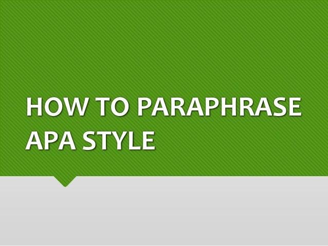 Apa style referencing paraphrasing
