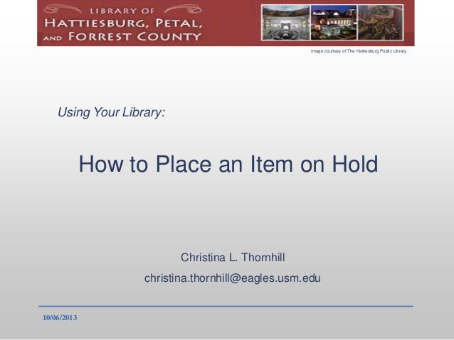 How to Place a Library Item on Hold Tutorial