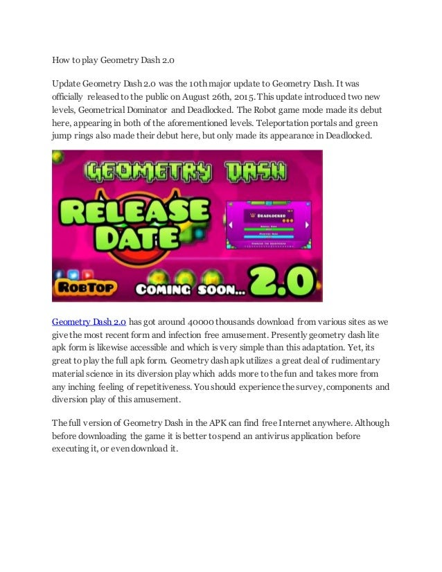 How to play geometry dash 2 0update geometry dash 2 0 was the 10th