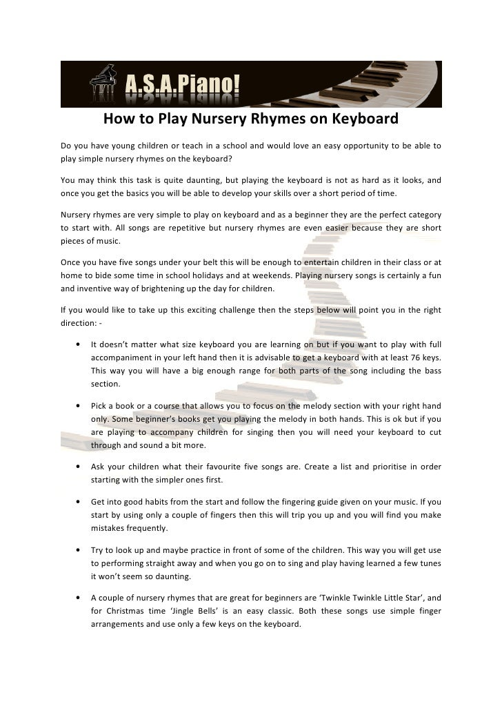 How to Play Nursery Rhymes on KeyboardDo you have young children or teach in a school and would love an easy opportunity t...