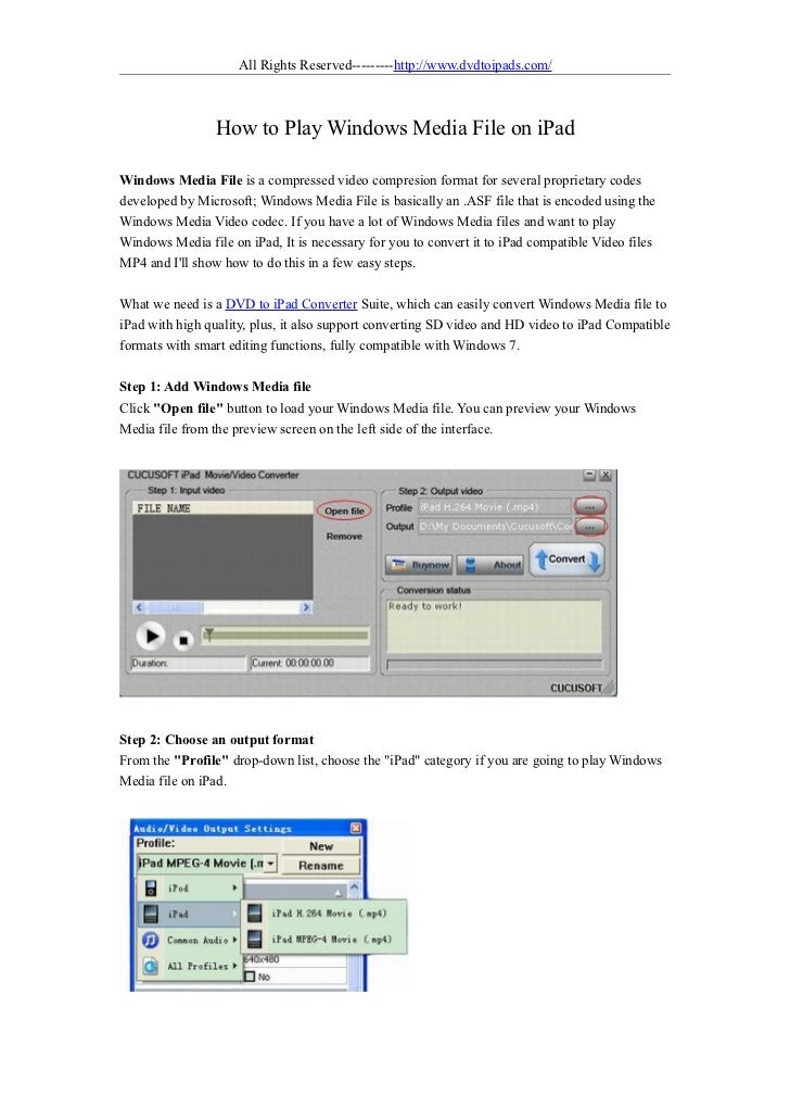 All Rights Reserved---------http://www.dvdtoipads.com/                 How to Play Windows Media File on iPadWindows Media...