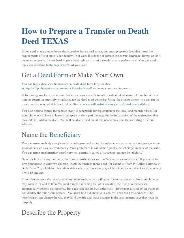 Transfer On Death Deed Willprobateattorneys