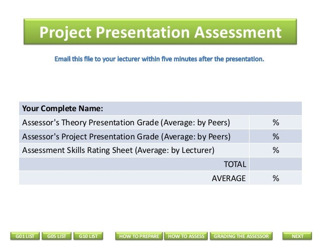 Project Presentation Assessment  Your Complete Name: Assessor's Theory Presentation Grade (Average: by Peers)  %  Assessor...