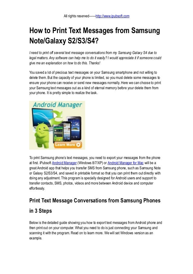 Samsung Galaxy 3 Text Messages