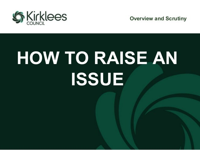 HOW TO RAISE AN ISSUE Overview and Scrutiny