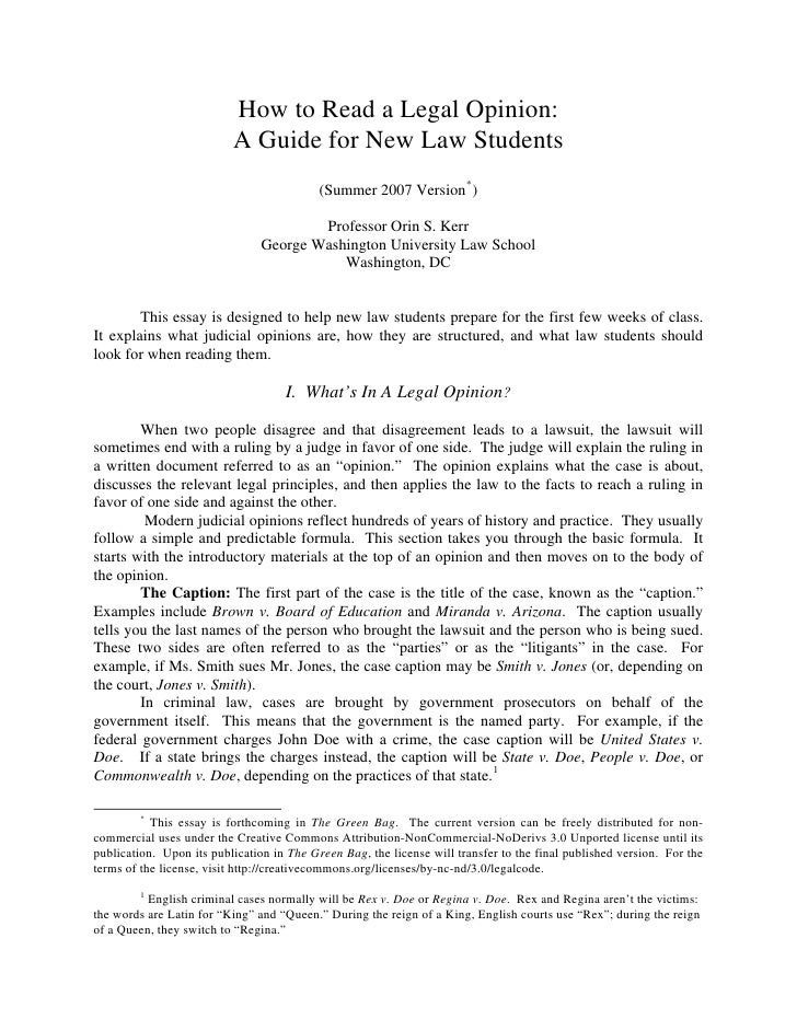 How to Read a Legal Opinion:                           A Guide for New Law Students                                       ...