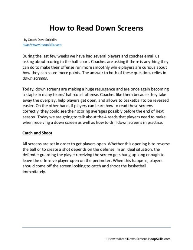 1 How to Read Down Screens-HoopSkills.comHow to Read Down Screens-by Coach Dave Stricklinhttp://www.hoopskills.comDuring t...