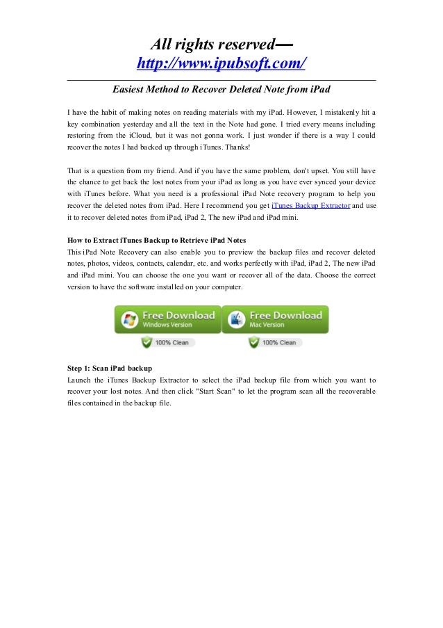 All rights reserved—http://www.ipubsoft.com/Easiest Method to Recover Deleted Note from iPadI have the habit of making not...