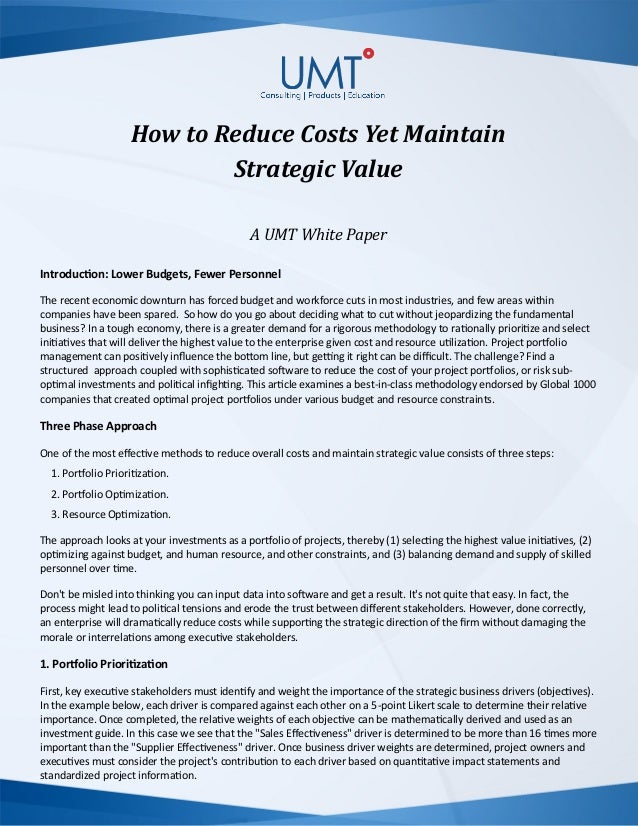 How to Reduce IT Costs yet Maintain Strategic Value