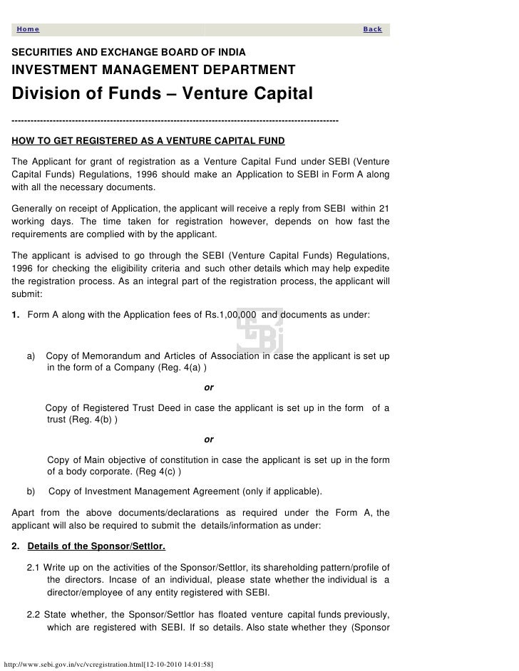 How to register a venture capital fund in india